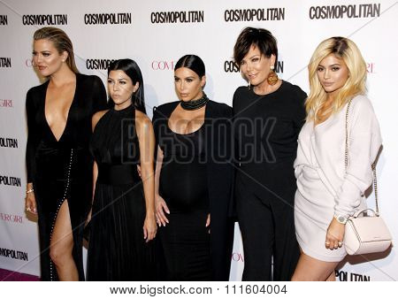 Khloe Kardashian, Kourtney Kardashian, Kim Kardashian, Kris Jenner and Kylie Jenner at the Cosmopolitan's 50th Birthday Celebration held at the Ysabel in West Hollywood, USA on October 12, 2015.