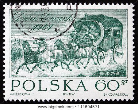 Postage Stamp Poland 1964 Stagecoach, By Jozef Brodowski
