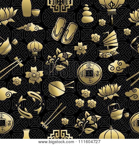 Gold Chinese Asia Culture Icon Seamless Pattern