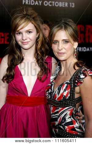 BUENA PARK, CALIFORNIA. October 8, 2006. Sarah Michelle Gellar and Amber Tamblyn at the World Premiere of