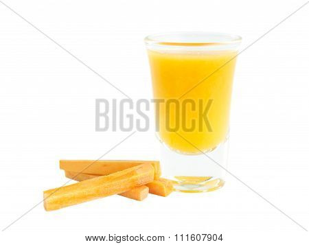 Carrots Juice Shot Glass With Raw Material