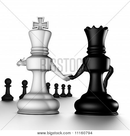 A couple king/queen, looking to the pawns