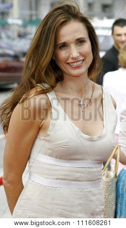 HOLLYWOOD, CALIFORNIA. July 30, 2006. Andie MacDowell attends the World Premiere of