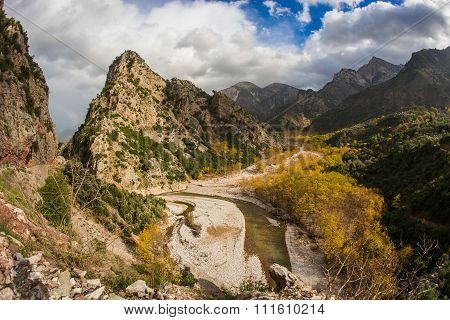 Scenic Mountain Autumn Landscape With A River
