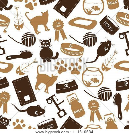 Cats Pets Items Simple Icons Seamless Color Pattern Eps10