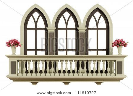 Classic Balcony With Triple Lancet Window