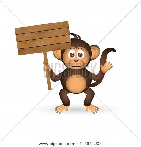 Cute Chimpanzee Little Monkey Holding Empty Wood Board For Your Text Eps10