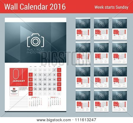 Calendar For 2016 Year. 12 Pages. Vector Design Clean Template With Modern Abstract Background, Logo
