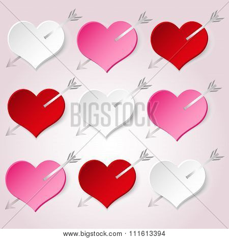 White Red And Pink Valentine Hearths With Arrow From Paper Decoration Element Eps10
