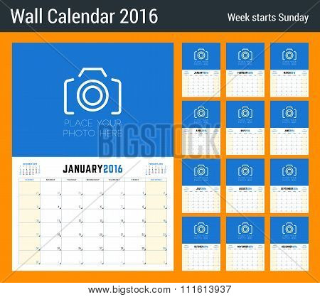 Calendar Planner For 2016 Year. 12 Pages. Vector Design Clean Template With Place For Notes. Week St