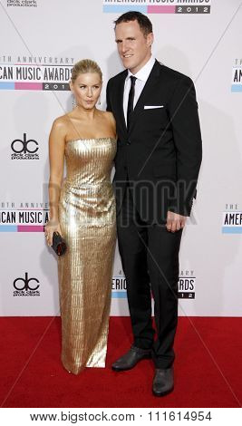 Elisha Cuthbert and Dion Phaneuf at the 2012 American Music Awards held at the Nokia Theatre L.A. Live in Los Angeles, USA on November 18, 2012.
