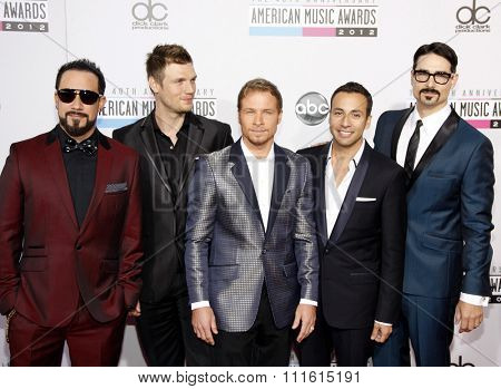 A.J. McLean, Howie Dorough, Brian Littrell, Nick Carter and Kevin Richardson of Backstreet Boys at the 2012 American Music Awards held at the Nokia L.A. Live in Los Angeles, USA on November 18, 2012.