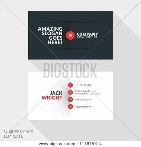 Creative Business Card Print Template. Flat Design Vector Illustration. Stationery Design