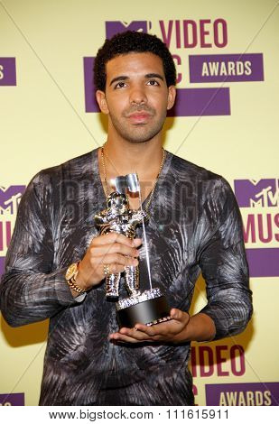 Drake at the 2012 MTV Video Music Awards held at the Staples Center in Los Angeles, USA on September 6, 2012.