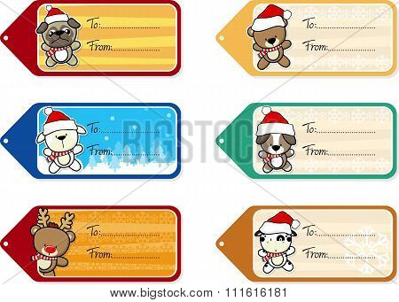 christmas gift tags with cute baby animals
