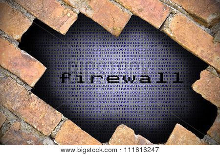 Business Concept For Data Security - Hole In Brick Wall With Binary Digit Background Inside With Fir