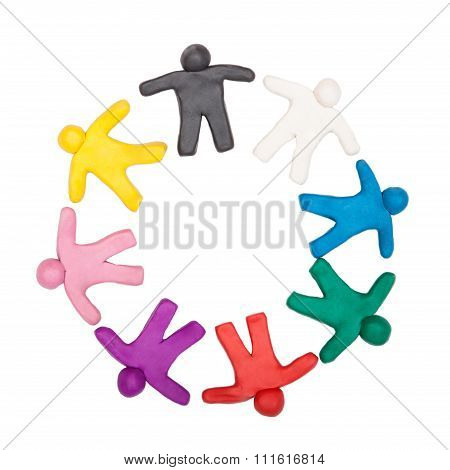 Multicolored plasticine human figures