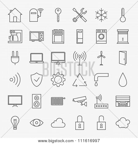Line Smart Home Icons Big Set