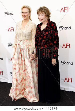Shirley MacLaine and Meryl Streep at the AFI Life Achievement Award Honoring Shirley MacLaine held at the Sony Studios in Los Angeles, USA on June 7, 2012.