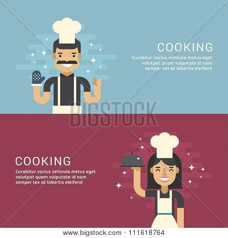 People Profession Concept. Cooking. Male And Female Cartoon Characters Chief. Flat Design Concepts F