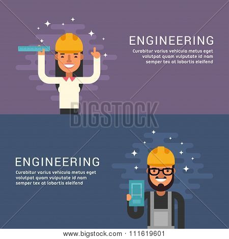 People Profession Concept. Engineering. Male And Female Cartoon Characters. Flat Design Concepts For