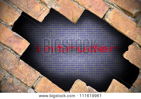 Business Concept For Data Security - Hole In Brick Wall With Binary Digit Background Inside With Int