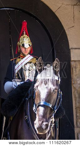 Mounted Trooper Of The Household Cavalry On Duty At Horse Guards.  London
