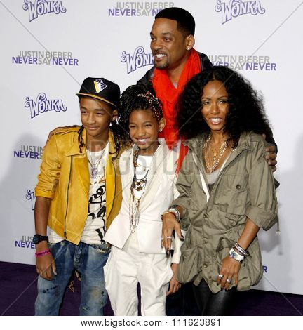 February 8, 2011. Will Smith, Jada Pinkett Smith, Jaden and Willow Smith at the Los Angeles premiere of