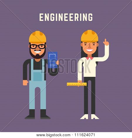 Engineering Concept. Male And Female Cartoon Characters. Flat Design Vector Illustration