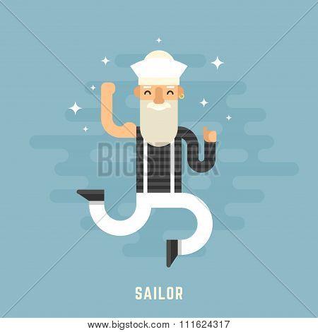 Sailor Concept. Happy Male Cartoon Character Dancing. Flat Design Vector Illustration