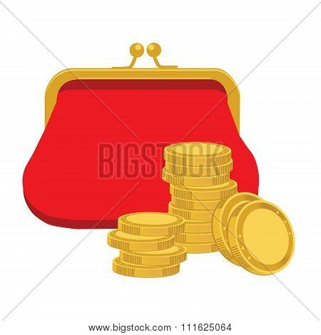 Purse and golden coins