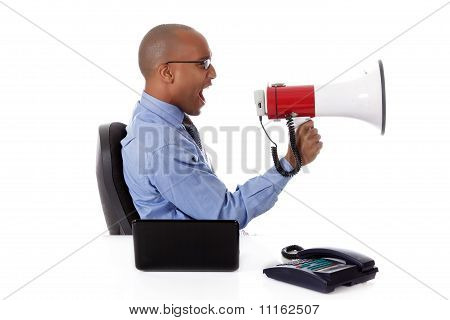 Young Attractive African American Businessman, Yelling