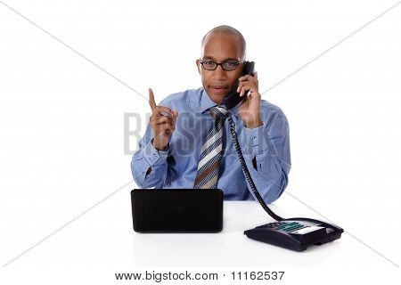 Young Attractive African-american Businessman, Talking