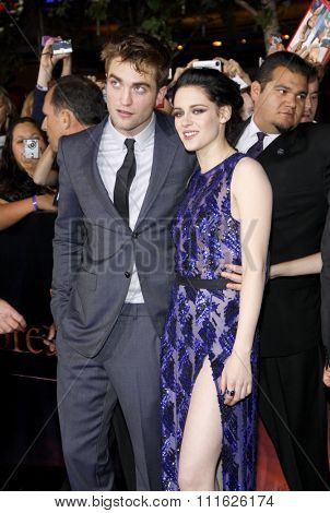 Robert Pattinson and Kristen Stewart at the Los Angeles premiere of 'The Twilight Saga: Breaking Dawn Part 1' held at the Nokia Theatre L.A. Live in Los Angeles, USA on November 14, 2011.