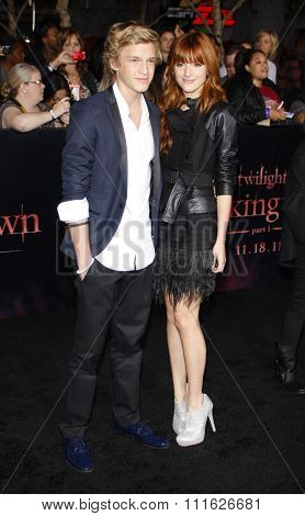 Cody Simpson and Bella Thorne at the Los Angeles premiere of 'The Twilight Saga: Breaking Dawn Part 1' held at the Nokia Theatre L.A. Live in Los Angeles, USA on November 14, 2011.