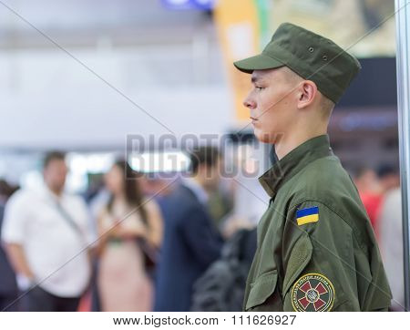 Kiev, Ukraine - September 22, 2015: Young Soldier From The National Guard Has Been Serving At The Sp