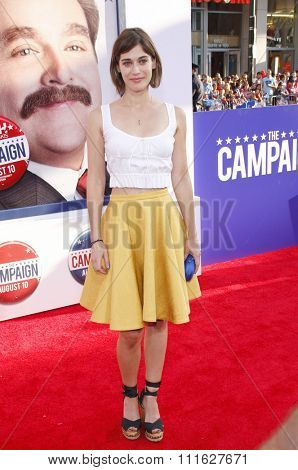 Lizzy Caplan at the Los Angeles premiere of 'The Campaign' held at the Grauman's Chinese Theatre in Hollywood, USA on August 2, 2012.