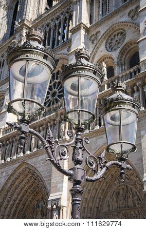 Lantern In Front Of Notre-dame, Paris