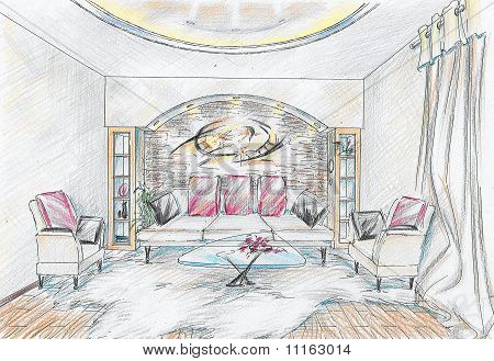 Sketch of interior of drawing room