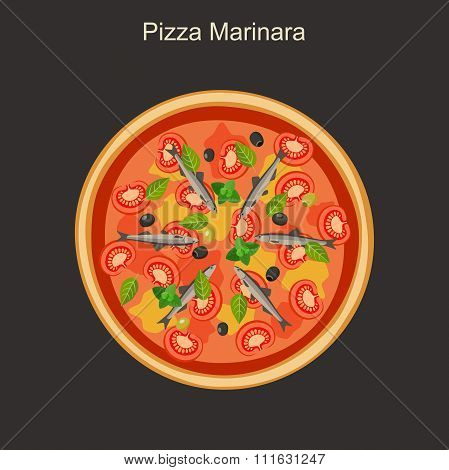 Pizza marinara with anchovies.
