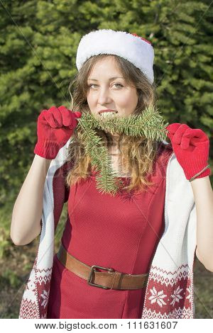 Beautiful Santa Claus Girl With Fir Tree Branch