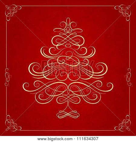 Calligraphy Christmas tree on red background.