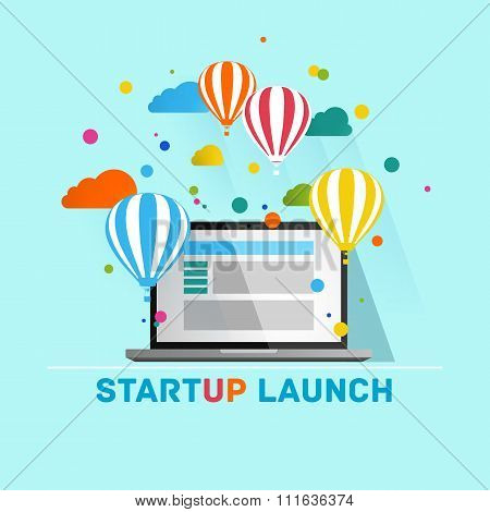 Flat concept background with hot air balloons. Project start up - launch.