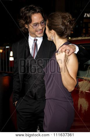 HOLLYWOOD, CALIFORNIA - October 28, 2010. Robert Downey Jr. and Susan Downey at the Los Angeles premiere of