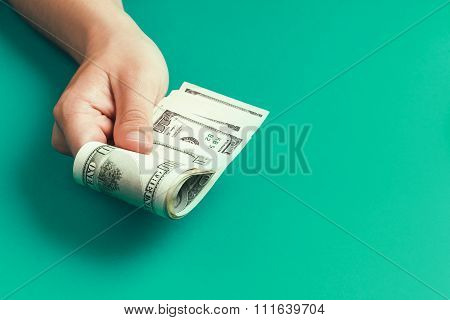 Giving money with hands