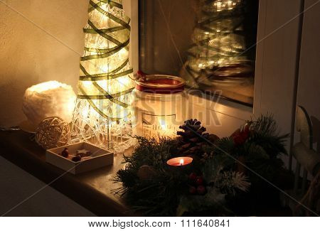 Christmas Tree And Decorations With Candles