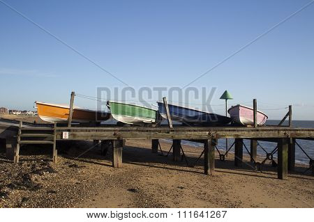 Boats on Southend Beach, Essex, England
