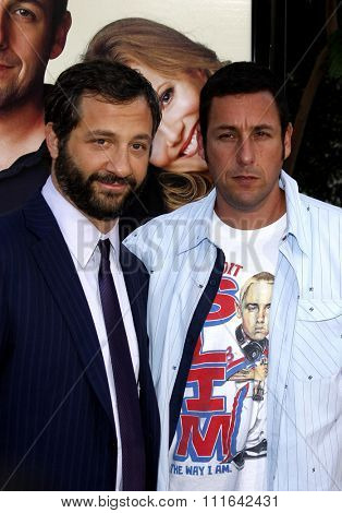HOLLYWOOD, CALIFORNIA - July 20, 2009. Judd Apatow and Adam Sandler at the World Premiere of