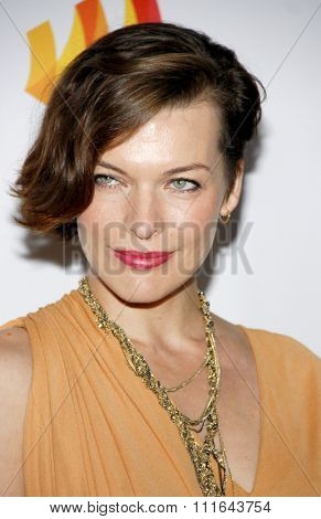 Milla Jovovich at the 23rd Annual GLAAD Media Awards held at the Westin Bonaventure Hotel in Los Angeles, California, United States on April 21, 2012.