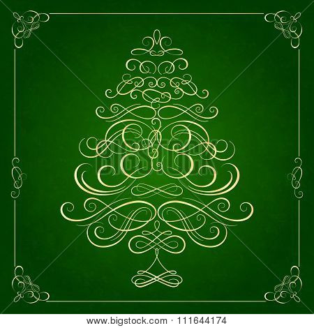 Calligraphy Christmas tree on green background.